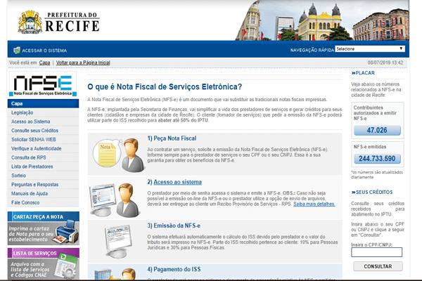 Como cadastrar na Nota Fiscal de Serviços Eletrônica Recife