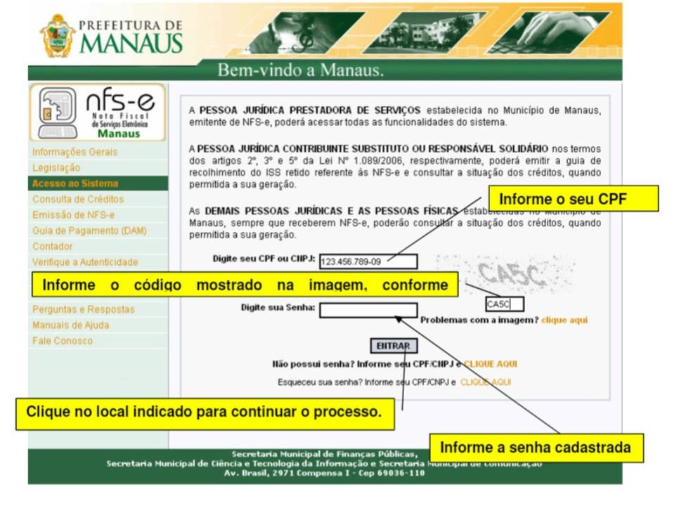 Como preencher Nota Fiscal Manaus