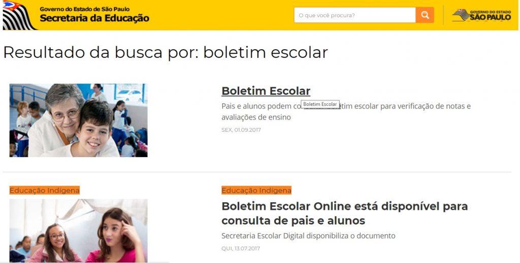 Consulta Boletim Escolar