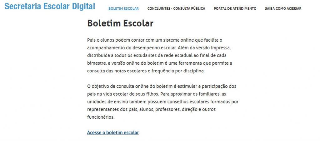 Consulta Boletim Escolar 2020