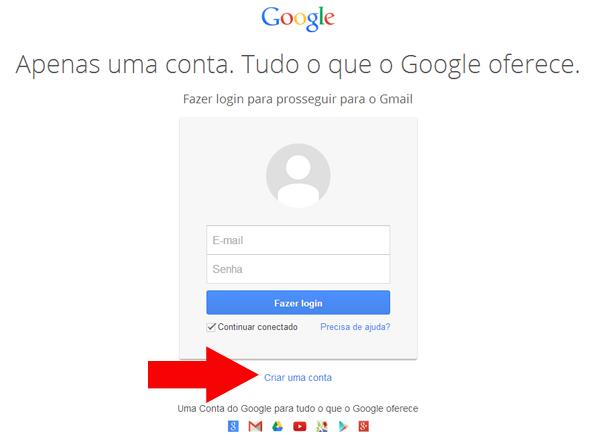 criar uma conta gmail