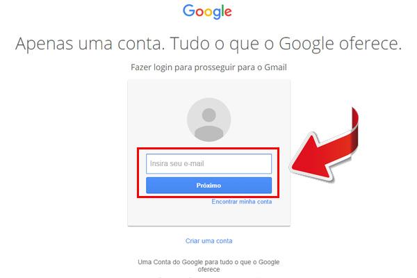 entrar no gmail - passo 1