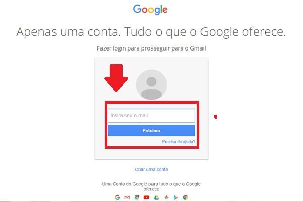 gmail login - passo 1