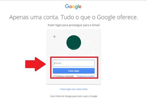 gmail login - passo 2